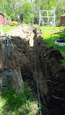 trenching wires from array to house